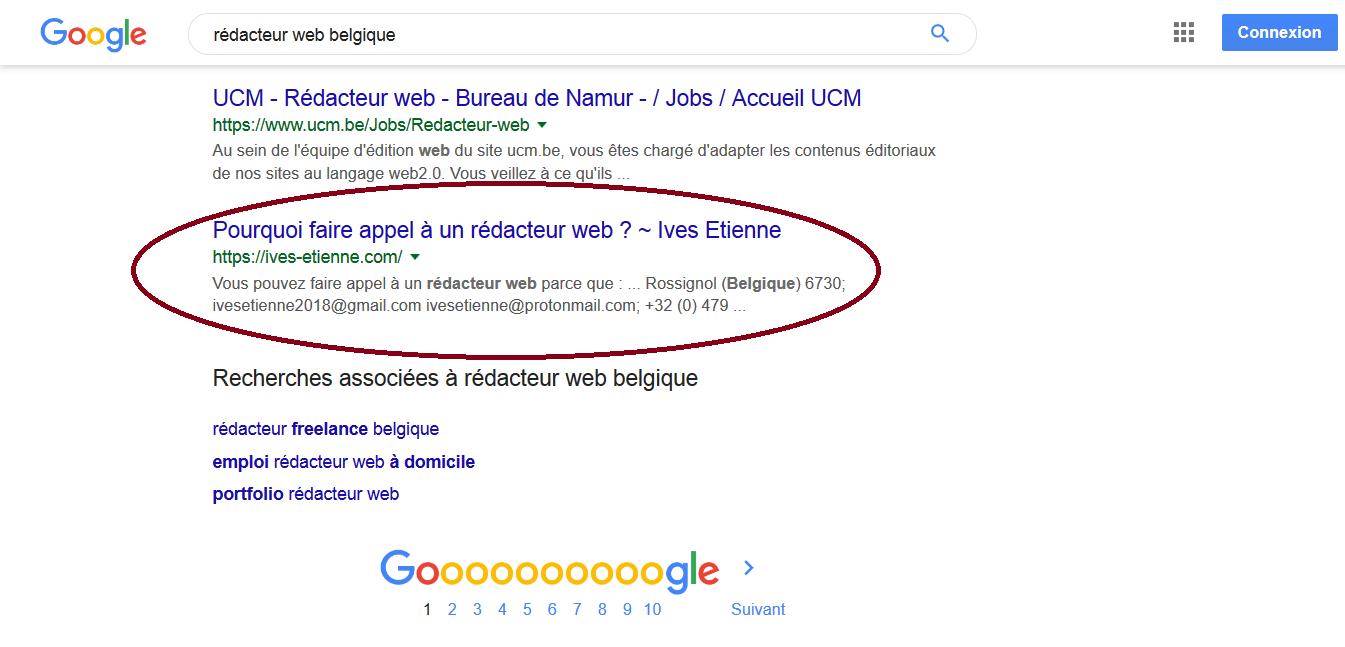 """Ives Etienne - position sur requête """"rédacteur web"""""""