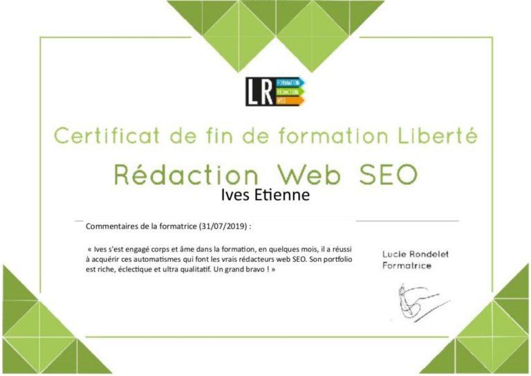 Le certificat de la formation en rédaction web SEO de Lucie Rondelet